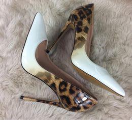 $enCountryForm.capitalKeyWord Australia - New Leopard-print Gradual White High-heeled Shoes Fine-heeled Pin-toed Light-mouthed Single-shoe Wedding Shoes large size 44 8cm 10cm 12cm