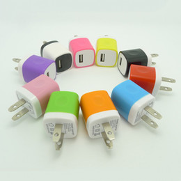 Block Charge Australia - Universal Travel Adapter 200pcs Lot Real 1Amp Mini Home Charging Block US Port Wall Charger Brown Box