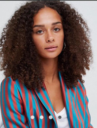 Dark Brown Hair Color Celebrities Australia - Afro Curl Full Lace Wigs Brazilian Virgin Remy Human Hair Dark Brown #2 Lace Wigs Celebrity Wig Front Lace Wig Free Shipping