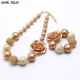 Gold plated kids jewelry sets online shopping - Gold Color Flower Baby Kid Chunky Beads Necklace Set Fashion Pink White Color Design Bubblegum Chunky Beads Necklace Jewelry For Children