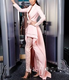 $enCountryForm.capitalKeyWord Australia - 2019 Pink Long Sleeve Jumpsuits Evening Dresses Deep V Neck With Sash Elegant Satin Special Occasion Prom Gowns