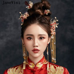 Chinese Hairpins Australia - JaneVini Traditional Chinese Style Bridal Headdress Costume Red Floral Hairpins Gold Long Tassel Brides Wedding Jewelry Hair Accessories New