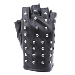 Rivets leatheR gloves online shopping - 2019 Fashion Women Fingerless Rivet Running Gloves Black Gloves High Quality Womens Outdoor Cycling Half Finger Leather