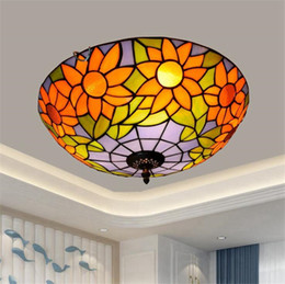 flower sun glasses UK - American blue sun flower retro glass lamp Tiffany stained glass aisle corridor balcony hallway bedroom ceiling lamp TF053