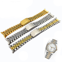 Wholesale 13 mm Pure Solid Stainless Steel Two Tone Hollow Curved End Solid Screw Links Watch Band Strap for Rolex Old Style Jubilee Bracelets