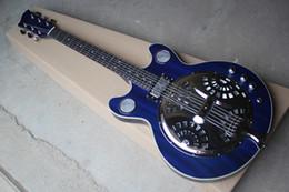 Guitars factory online shopping - Factory Custom Dark Blue Electric Guitar with resonant cavity Metal cover White Binding body Chrome Hardware
