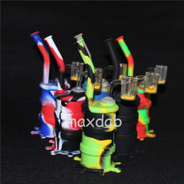 $enCountryForm.capitalKeyWord Australia - Silicone water Pipes Glass bong Silicone Bongs Hookah Silicone Barrel Rigs for Smoking Herb with yellow sand quartz nail