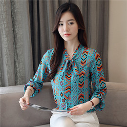 6bcda4652f Ladies Long sLeeve siLk print bLouses online shopping - 2019 Women Printing Silk  Blouse Femininas Tops