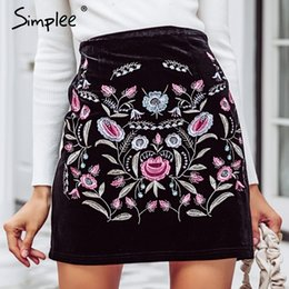f0b9dcbbe48e Simplee Embroidery High Waist Skirts Womens Bottom Vintage Short Boho Style  Chic Pencil Skirt Female Autumn Sexy Mini Skirt Y190428