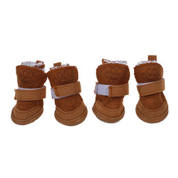 Dog shoes sizes online shopping - Pet Dog Snow Shoes Warm Winter Boots Protective Booties Set of Coffee Size
