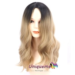 wigs for african american women 2019 - Cheap Ombre Blonde Wig High Temperature Fiber Synthetic Hair Wig Natural Wave Glueless Cosplay Wigs Long Wavy For Africa