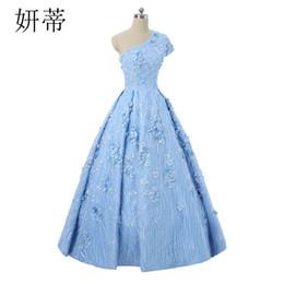 $enCountryForm.capitalKeyWord Australia - Excellent Beautiful Evening Prom Dress Lace Applique Beaded Sequined Flower One-shoulder Exquisite Formal Evening Dress Blue