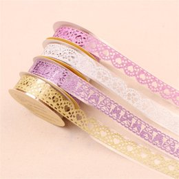 Lace stationery online shopping - Lace Butterfly Scrapbooking Multi Color Hollowing Out Adhesive Tape Gold Powder Decorate Stationery Heart Shaped Girl Student abD1