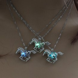 Night Glowing Plastic Australia - 2018 Wholesale New Fashion personality Night glow pony pendant luminous animal necklace accessories gift free shipping