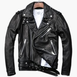 Genuine Motorcycle Jackets Australia - 2019 Black Men Diagonal Zipper Biker Leather Jacket Plus Size XXXL Genuine Sheepskin Short Leather Motorcycle Coat FREE SHIPPING