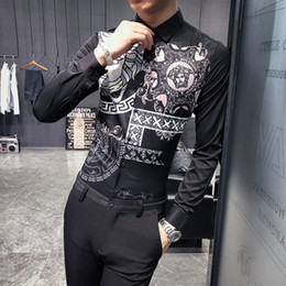 Wholesale British wind shirt men s long sleeved Korean version of the trend handsome net red striped wild hair stylist printed shirt Slim