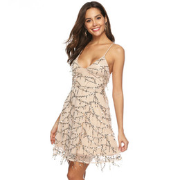 Sexy Deep V Lead suspender Tassels sequin Dress glitter mini woman clothes  vestidos curtos backless fringe elbise mesh 2019 84febb42f60a