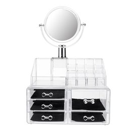 clear makeup drawers cosmetics Australia - Large Mirror Clear Cosmetic Organizer Box Makeup Storage Drawer Desk Bathroom Makeup Brush Lipstick Holder