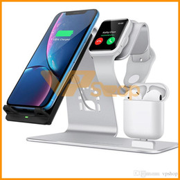 iphone phone dock wireless NZ - H05 QI Wireless Charger Stand For iPhone 3 In 1 Wireless Charging Dock For Apple AirPods Mobile Phone Watch Headset Charging Bracket Mount