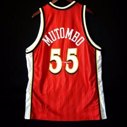 07ac0214 100% Stitched #55 Dikembe Mutombo Champion Sewn Jersey red Mens Vest Size  XS-6XL Stitched basketball Jerseys Ncaa