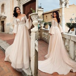 Lavender Blush Wedding Dress Australia - Crystal Design Beach A Line Wedding Dresses 2019 New Lace Applique Long Sleeve Boho Bridal Dress Blush Pink Tulle Sweep Train Wedding Gowns