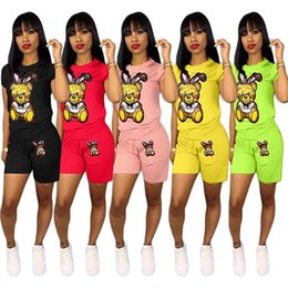 cartoon volleyball 2019 - Sequins Cartoon Shorts Tracksuit Women Outfit Short Sleeve T-shirt Tops + Shorts 2 Piece Set Bear Print T Shirt Sportswe