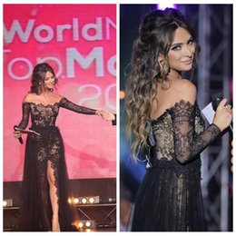 $enCountryForm.capitalKeyWord Australia - Off Shoulder Black Lace Long Sheath Prom Dresses Tulle Overlay Sweep Train Split Front Custom Women Celebrity Evening Party Gowns 2019