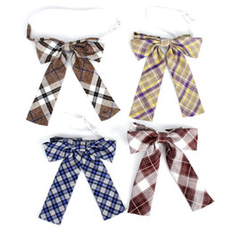 girls bowties 2019 - Plaid Check Ladies Bowtie Classic Shirts Bow Tie For Women Business Bowknot Uniform School Bow Ties Butterfly Girls Suit