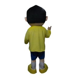doraemon costumes Canada - Wholesale-High quality hot Nobita mascot costume Nobi Boy Mascot Costume Mascotte Spadger Doraemon Lad Adult With Big Glasses Smiling Face