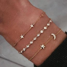 moon star bracelets 2019 - 2019 New Arrival European and American Simplicity Trendy Star Moon Crystal Rhinestone 3 Pairs Bracelets Bangles B3172 ch