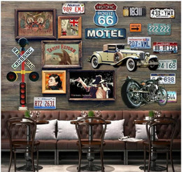 $enCountryForm.capitalKeyWord Australia - WDBH 3d wallpaper custom photo Nostalgic retro car license plate bar painting home decor living Room 3d wall murals wallpaper for walls 3 d