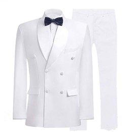 Venta al por mayor de Nuevo traje de hombre para boda Custom Double Breasted Guapos trajes para hombre Novios Tuxedos Slim Fit Mens Blazer Party Prom 2 piezas de chaqueta + pantalones 564