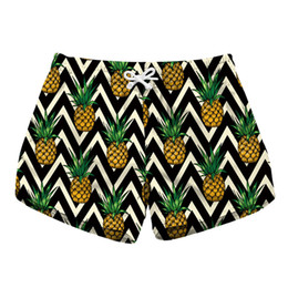 pineapple shorts UK - Women Short Beach Shorts Pineapple Zig Zag 3D Full Print Girl Casual Swimming Shorts Lady Digital Graphic Beach Pants Boardshort (RLbp-6004)