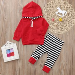 Wholesale 2PCS Baby Girls clothes Toddler Baby Long Sleeve Stripe Print Hooded Top Clothes Pants Set Outfit roupa infantil costume