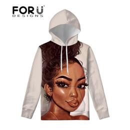 Yellow hoodies for girls online shopping - FORUDESIGNS Slim Sweatshirt Hoodies for Women Black Girls Magic African Hoody with Pocket Ladies Long Sleeve Hoodie Females