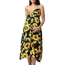 a5bd09e11f03e Women Maternity Dresses Summer Elegant Sunflower Pocket Casual Nursing Dress  Comfy Modis Pregnant Clothes Vetement Femme 19may14