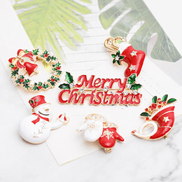 Christmas Gift Shoes Australia - Merry Christmas Enamel brooches Pin women Tree snowman Tie sock Shoes Elk gloves garland Lapel badge For men Fashion Party Jewelry Gift