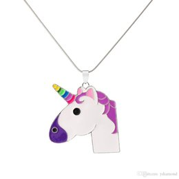 candy drip UK - 2019 European and American cartoon new hot lady ornaments lovely unicorn necklace candy-colored dripping oil pendant
