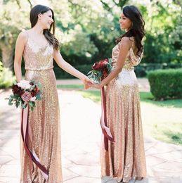 $enCountryForm.capitalKeyWord Australia - Summer Boho rose Gold Sequins Bridesmaids Dresses 2019 A Light Spaghetti Straps Floor Length Formal Evening Prom Gowns Cheap Custom Made