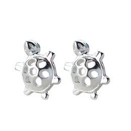 $enCountryForm.capitalKeyWord UK - Fashion Simple Mini Hollow Turtle Silver Plated Ear Stud Earrings Jewelry Gift new