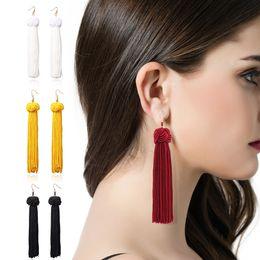 $enCountryForm.capitalKeyWord Australia - Bohemia Ethnic tassel Drop Earrings For women 2019 Trendy Black Red Yellow Green Long Silk Fringed Dangles statement Gold Ear hook Jewelry