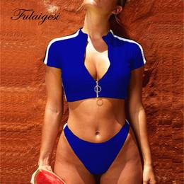 $enCountryForm.capitalKeyWord Australia - Sexy Solid Black Red Blue Green Bikini Set sport women swimwear 2019 swimsuit surf zipper padded bathing suit tankini set Female