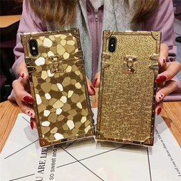iphone cases gold color NZ - luxury square gold color 3D phone case for iphone X XS XR XSMAX 7 8PLUS 6 6SPLUS soft silicone cover