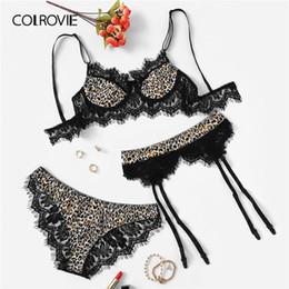 5ed4803beb4 COLROVIE Lace Trim Leopard Garter Sexy Intimates Women Lingerie Set 2019  Fashion Wireless Ladies Underwear Suit Bra Set