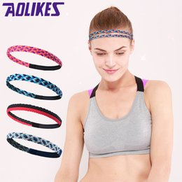 Wholesale AOLIKES Weave Elastic Yoga Sweatband For Women Men Running Hair Bands Fitness Sweat Bands Sport Headband