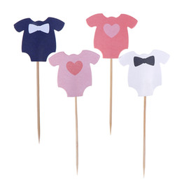 baby boy cupcake toppers 2019 - 10 PCS Baby Girl Baby Boy Cloth Design Gender Reveal Party Paper Cake Decoration Shower Cupcake Toppers cheap baby boy c