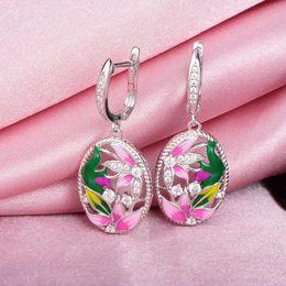 $enCountryForm.capitalKeyWord Australia - Rainmarch Bohemian Enamel Flower Silver Earrings For Women Engagement 925 Sterling Silver Earring Handmade Enamel Party Jewelry J190629