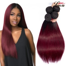Discount burgundy ombre human hair extensions - Two Tone 1b burgundy straight hair Ombre Straight human Hair Bundles Malaysian straight hair extension