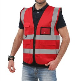 $enCountryForm.capitalKeyWord NZ - Reflective Safety Clothing Workwear Reflective T-shirt Traffic Police Work Vest Zipper Reflective Top Multi-pocket Design T190622