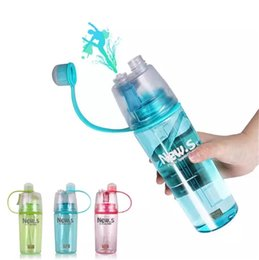 sports drinking NZ - Creative Clear Plastic Spray Drinking Water Bottle, Outdoor Sport Portable Space Cup Bual-function Cooling & Drinking BPA Free Eco-friendly